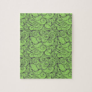 Wavy Curly Abstract Design Customizable Color Jigsaw Puzzle