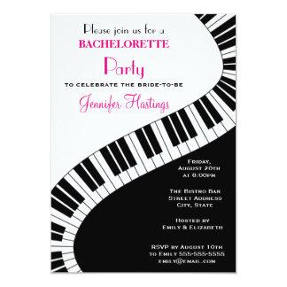 Wavy Curved Piano Keys Bachelorette Party 13 Cm X 18 Cm Invitation Card
