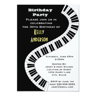 Wavy Curved Piano Keys Birthday 13 Cm X 18 Cm Invitation Card