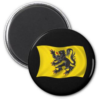 Wavy Flanders Flag 6 Cm Round Magnet