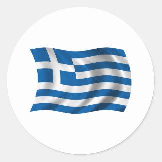 Wavy greece Flag Round Sticker