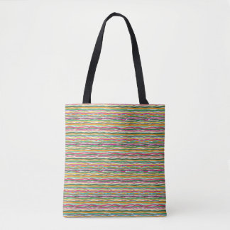 Wavy Lines Earth Tone Hippie All Over Print Tote Bag