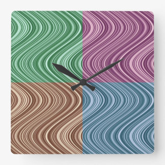 Wavy Lines in Blue/Brown/Green/Purple Square Wall Clock