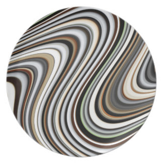 Wavy Lines - Light Brown/Sand/Beige/Turquoise/Blue Plate