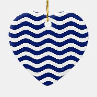 Wavy Navy Stripes decor Christmas Ornament