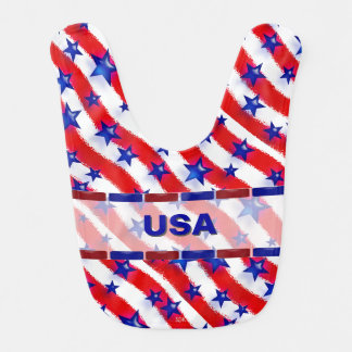 Wavy Patriotic Blue Stars Over Red & White Stripes Bibs