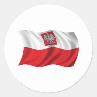 Wavy Poland Flag Round Sticker