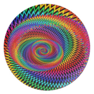 Wavy Rainbow Fractal Melamine Plate