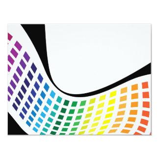 Wavy Rainbow Squares Abstract Layout 11 Cm X 14 Cm Invitation Card
