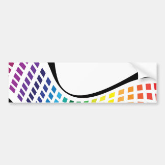 Wavy Rainbow Squares Abstract Layout Car Bumper Sticker