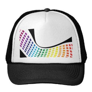 Wavy Rainbow Squares Abstract Layout Trucker Hats