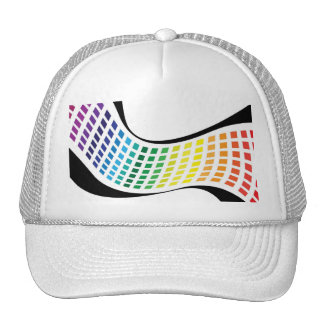Wavy Rainbow Squares Abstract Layout Mesh Hat