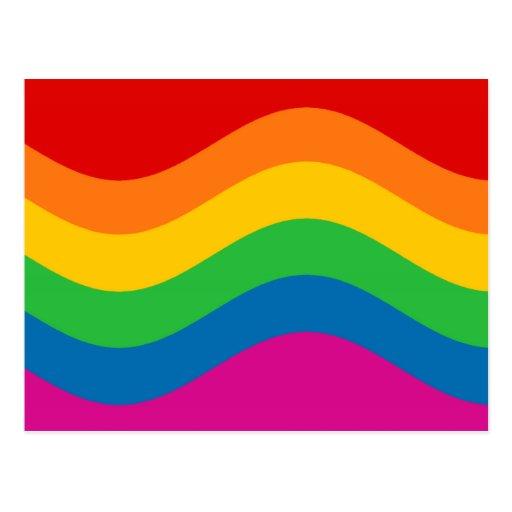 Wavy Rainbow Stripes Postcard
