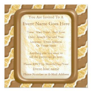 Wavy Ripples - Chocolate Marshmallow 13 Cm X 13 Cm Square Invitation Card