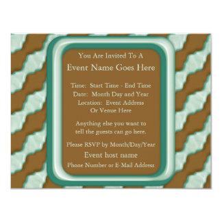 Wavy Ripples - Chocolate Mint 11 Cm X 14 Cm Invitation Card