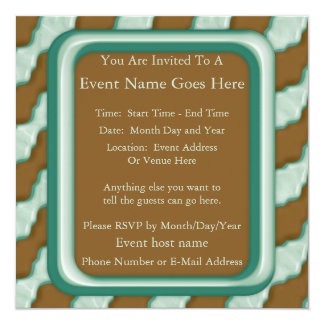 Wavy Ripples - Chocolate Mint 13 Cm X 13 Cm Square Invitation Card