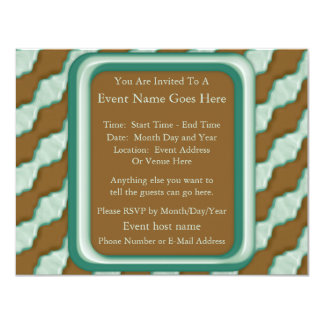 Wavy Ripples - Chocolate Mint 4.25x5.5 Paper Invitation Card