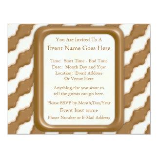 Wavy Ripples - Milk Chocolate and White Chocolate 11 Cm X 14 Cm Invitation Card
