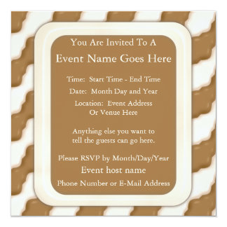 Wavy Ripples - Milk Chocolate and White Chocolate 13 Cm X 13 Cm Square Invitation Card