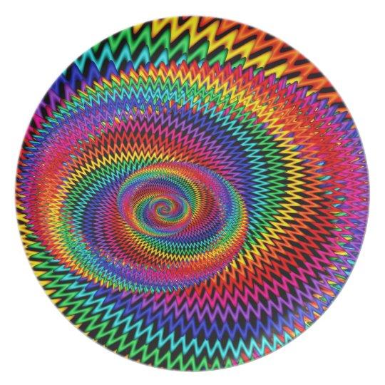 Wavy Spiral Rainbow Melamine Plate