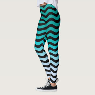 Wavy Turquoise Stripes Decor on Leggings