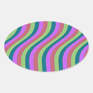 Wavy Urban Slide Stripes Oval Sticker