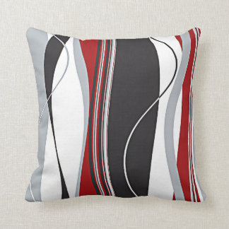 Wavy Vertical Stripes Red Black White & Grey Cushion