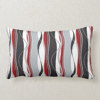 Wavy Vertical Stripes Red Black White & Grey Lumbar Cushion