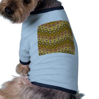 Wavy Yellow and Purple Circle Flowers Pattern Dog Tshirt