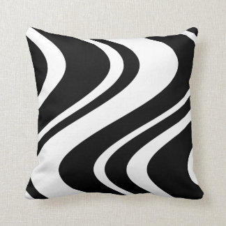 Wavy Zebra Stripe Pillow - black and white Throw Cushions