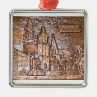 WAWEL CASTLE IN KRAKOW POLAND Silver-Colored SQUARE DECORATION
