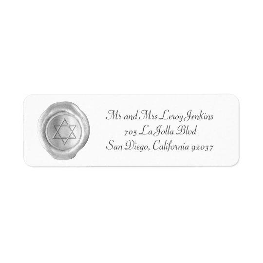Wax Monogram Address Labels - Silver Star of David