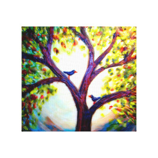 Wax pic of 2 birds in a tree canvas print