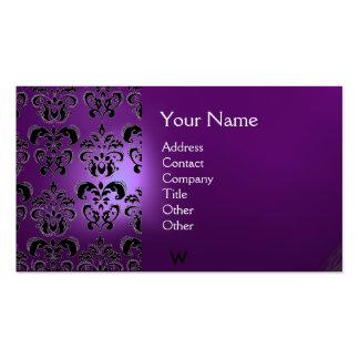 WAX SEAL DAMASK  MONOGRAM purple Business Card