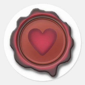 WAX SEAL HEART by SHARON SHARPE Round Sticker