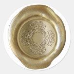 Wax Seal Monogram - Gold - Bargallo Pattern Round Sticker
