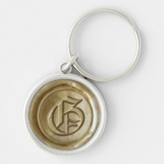 Wax Seal Monogram - Gold - Old English G - Silver-Colored Round Key Ring