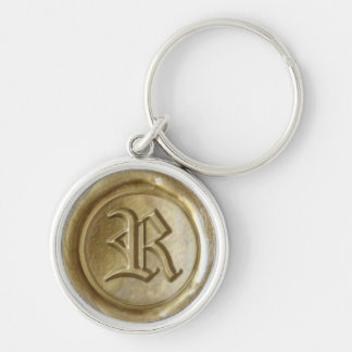 Wax Seal Monogram - Gold - Old English R - Silver-Colored Round Key Ring