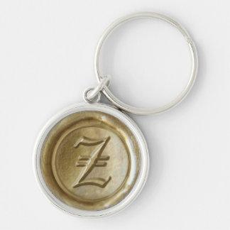 Wax Seal Monogram - Gold - Old English Z - Keychain