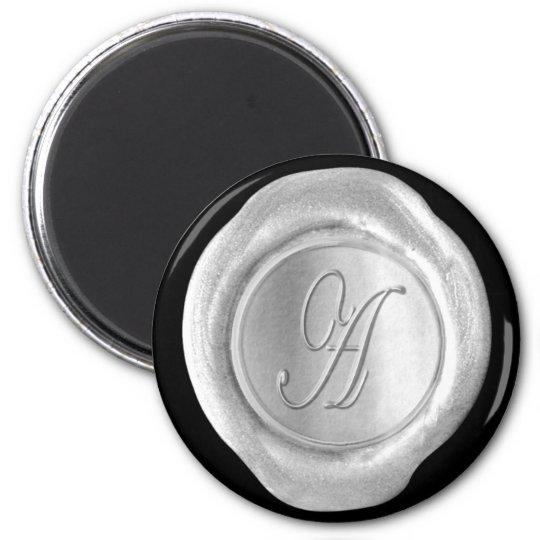 Wax Seal Monogram Magnet - Silver - Script Style -