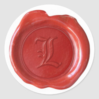 Wax Seal Monogram - Red - Old English - Letter L