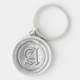 Wax Seal Monogram - Silver - Old English A - Silver-Colored Round Key Ring