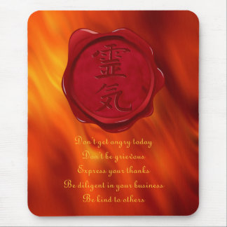 wax seal - REIKI & Precepts | fire red waves Mouse Mat