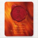 wax seal - REIKI & Precepts | fire red waves Mousepads