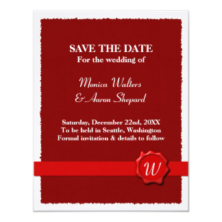 Wax Seal Save The Date 11 Cm X 14 Cm Invitation Card