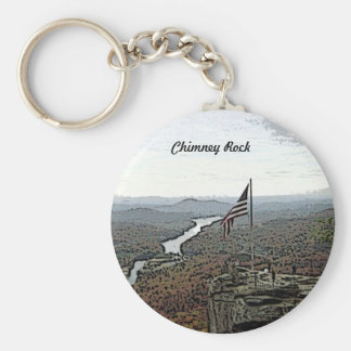 Way Above the Mountains Painted Basic Round Button Key Ring