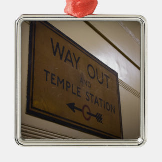 Way Out - Temple Station Silver-Colored Square Decoration
