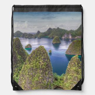 Wayag Island landscape, Indonesia Drawstring Bag