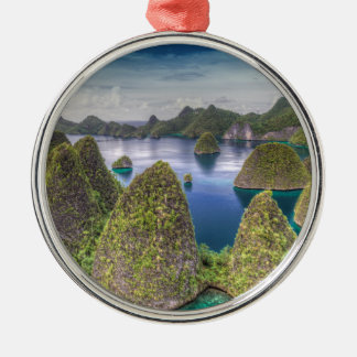 Wayag Island landscape, Indonesia Silver-Colored Round Decoration