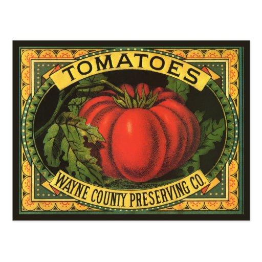 Wayne Co Tomatoes Vintage Fruit Crate Label Art Post Card